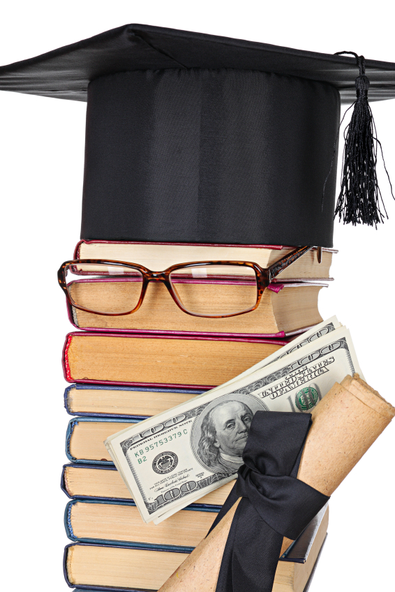 Funny parody of student made up of books with glasses holding cash and a diploma